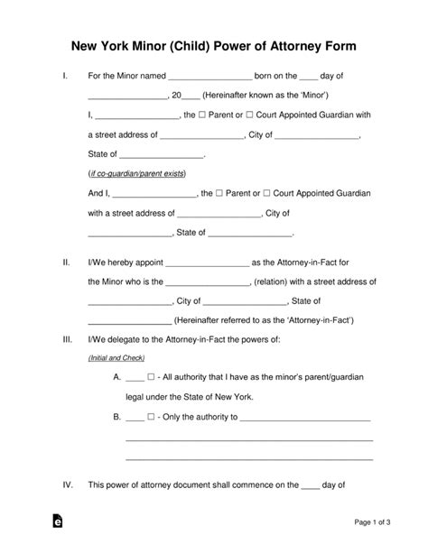 york minor child power  attorney form
