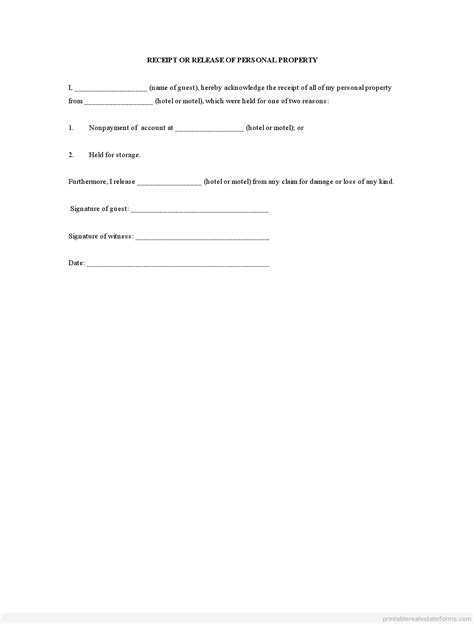 receipt and release form template sle printable receipt or release of personal property