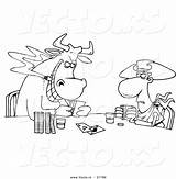 Poker Coloring Playing Cartoon Bull Cowboy Casino Outlined Toonaday Cowboys Games Vecto Rs sketch template