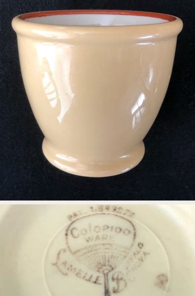 buffalo china colorido ware lamelle double egg cup date circa late   dining