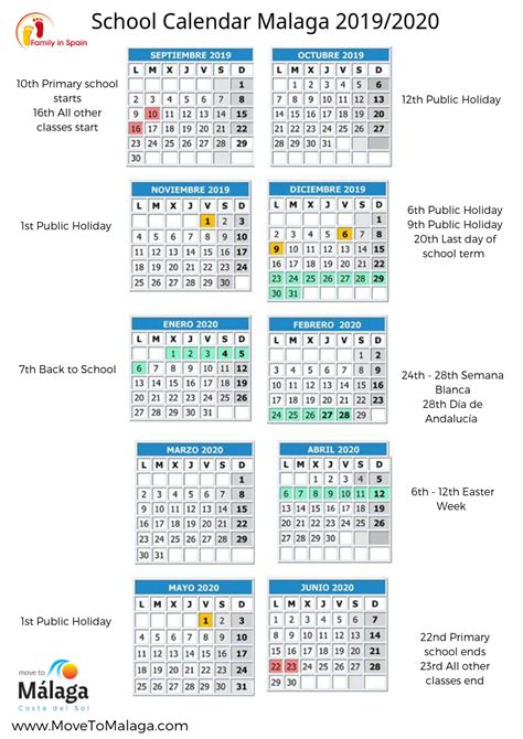 printable school calendar spain family life spain