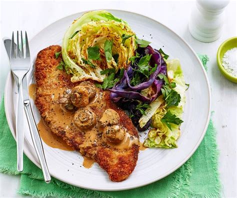 Veal Schnitzel With Cabbage And Mushroom Sauce Recipe