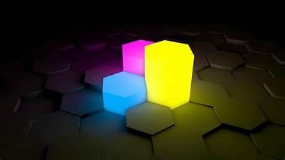 Hexagon Neon Yellow 3d Pink Dark Abstract