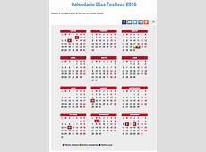 Calendario laboral de 2016 puentes, festivos, Semana