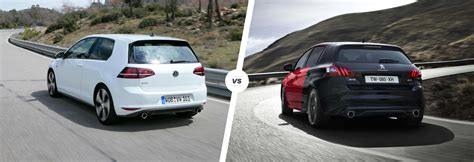siege golf 1 gti vw golf gti vs peugeot 308 gti hatch battle carwow