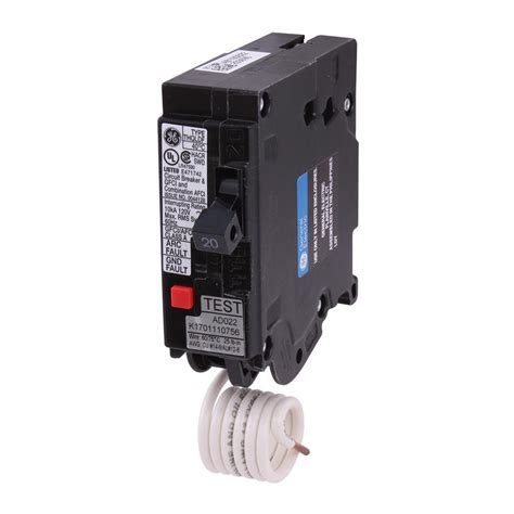 gfci circuit breaker ge q line 20 amp single pole dual function arc fault gfci breaker thql1120dfp the home depot