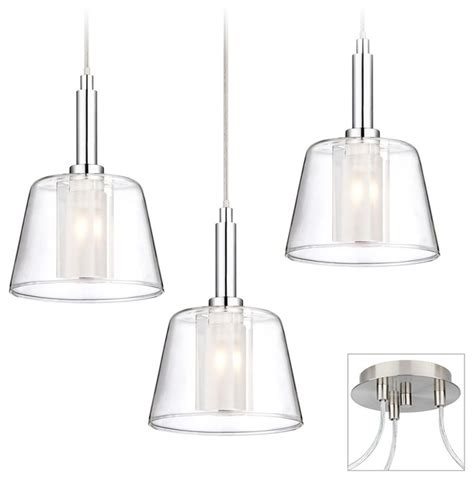 glass brushed nickel chrome 3 light multi pendant