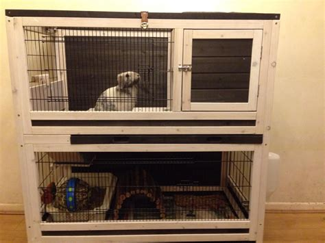 Indoor Wooden Rabbit Hutch - small pet cage indoor lounge 2 storey wooden rabbits or