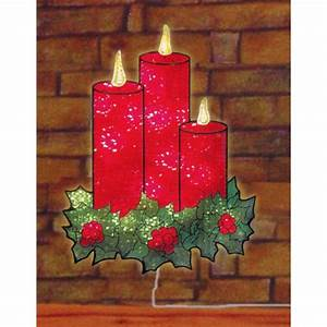 16, U0026quot, Lighted, Holographic, Candles, And, Holly, Christmas, Window, Silhouette, Decoration