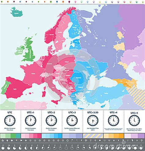 europe time zones high detailed map location clock icons