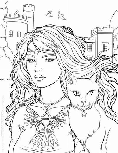 Coloring Gothic Halloween Night Magic Pages Witch