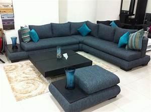 Salon Gris Bleu : decoration salon moderne gris bleu design en image ~ Melissatoandfro.com Idées de Décoration