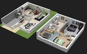 plan maison 3d d39appartement 2 pieces en 60 exemples With plan d appartement 3d 1 plan de maison 60m2 3d