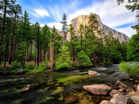 landscape mountain river merced clear mountain water basin