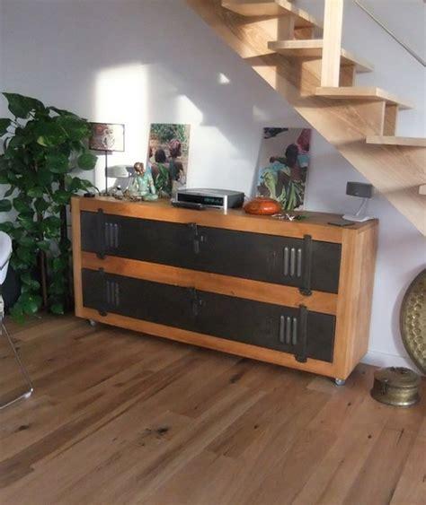 meuble tv buffet bois metal industriel sur mesurefab