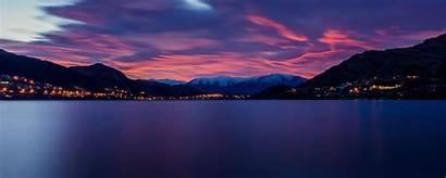 Lake Dawn Mountains Horizon Landscape Ultrawide Monitor