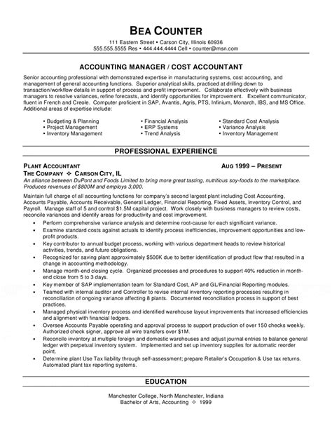 Accounting Software Skills Resume by Cost Accountant Resume
