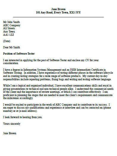 Cover Letter For Software Tester by Software Tester Cover Letter Exle Icover Org Uk