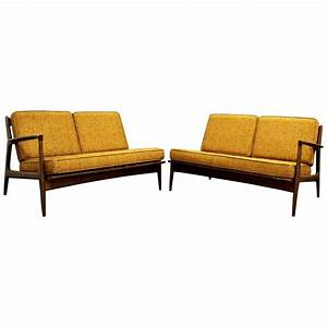 Mid century modern danish ib kofod larsen selig pair of for Mid century sectional sofa for sale