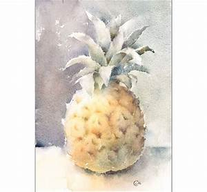 Pineapple Original Watercolor Painting 7 x 10 inches Food