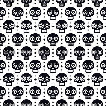 Day Of The Dead Seamless Pattern With Skulls On White ...
