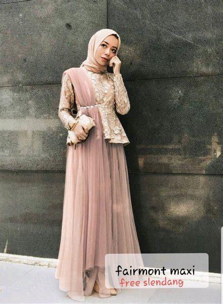 long dress pesta mewah gamis brokat