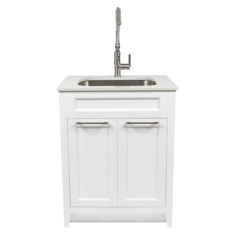 Stainless Steel Utility Sink Canada by Shop Foremost Warner 29 In X 22 In White Laundry Cabinet