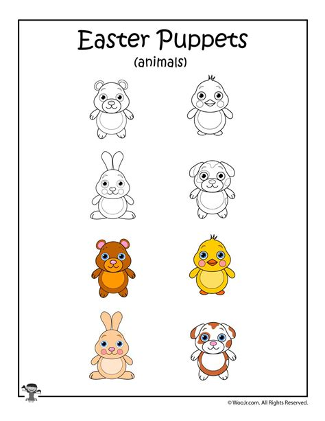 easter clothespin puppet characters woo jr kids activities