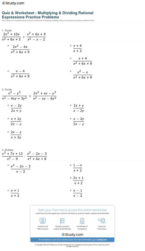Quiz & Worksheet  Multiplying & Dividing Rational Expressions Practice Problems Studycom
