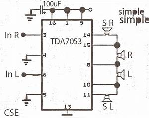 Simple Surround Power Amplifier With Ic Tda7053