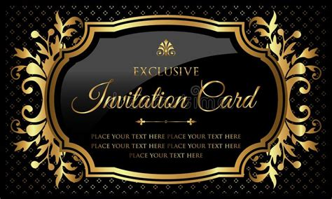Invitation Card Design Luxury Black And Gold Vintage
