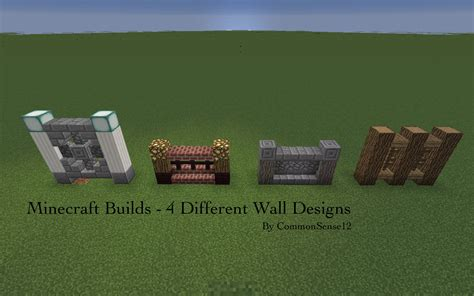 Minecraft Builds 4 Different Wall Designs Youtube