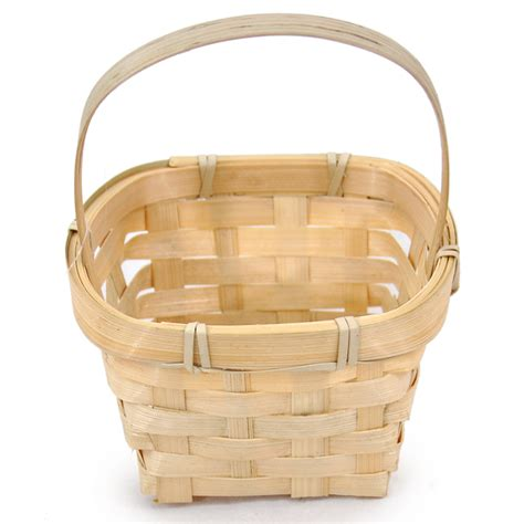 miniature bamboo handle basket square  lucky clover trading
