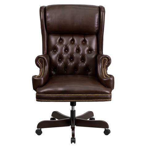 high back traditional tufted brown leather executive