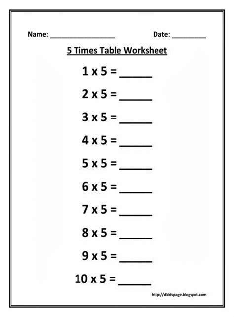 page 5 times multiplication table worksheet