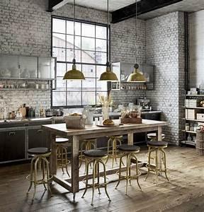 Cuisine Deco Industrielle : cuisine industrielle en 3d loft en 3d cuisine style industriel cuisine industrielle et ~ Carolinahurricanesstore.com Idées de Décoration