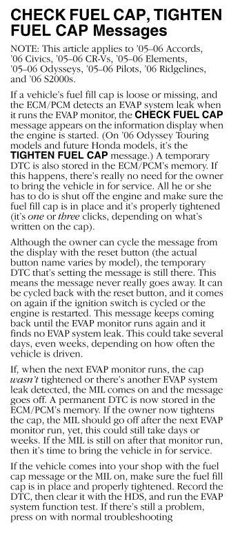 check fuel cap warning light honda ridgeline owners club