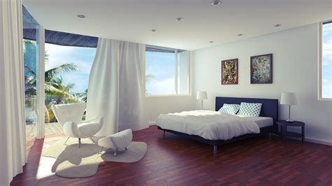 open white bedroom with terrace