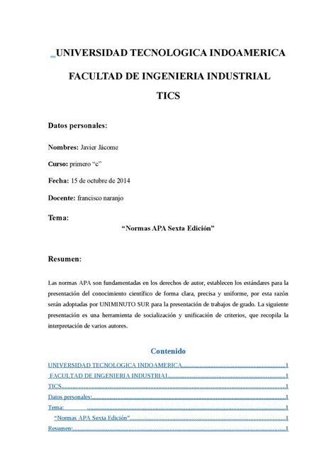 Normas Apa 2014 Para Resumen by Calam 233 O Normas Apa