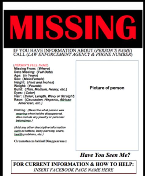 missing person poster template ds106 assignments missing person