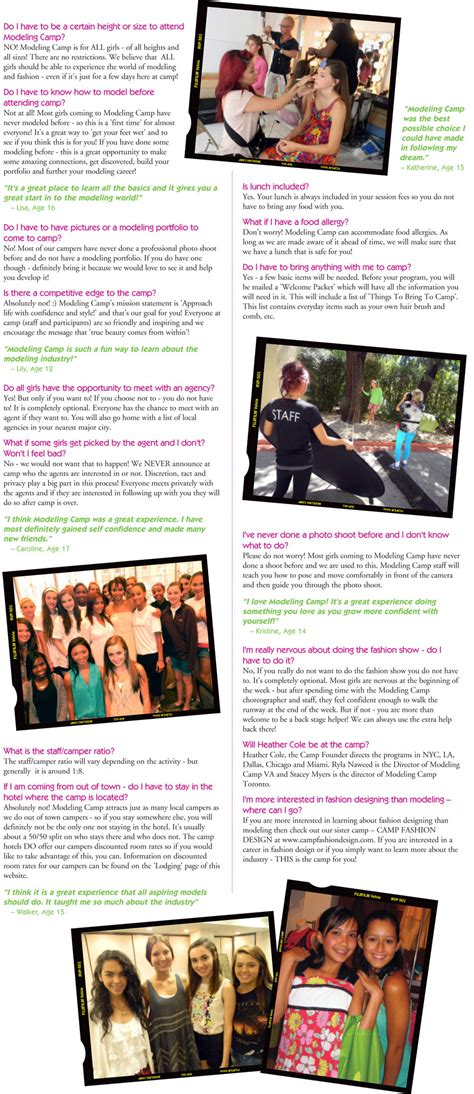 modeling camp frequently asked questions faqs
