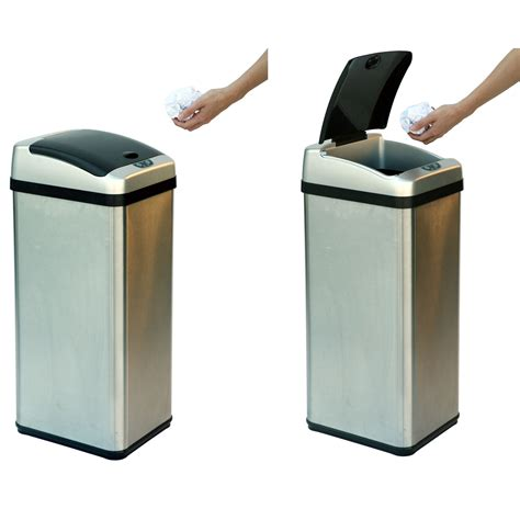 Kitchen Trash Can 9 Inches Wide by 13 Gallon Stainless Steel Wide Automatic Trash Can