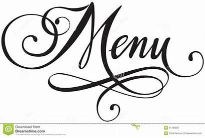 Menu Calligraphy Vector Clip Words Clipart Version