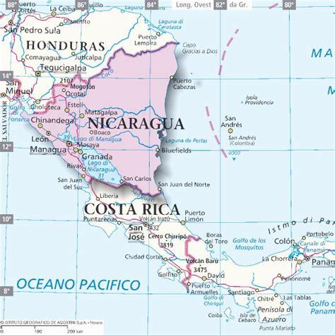 Mappa Nicaragua - Cartina del Nicaragua