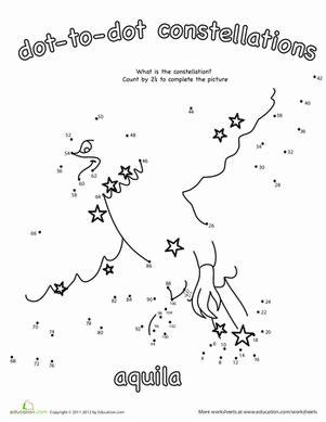constellation chart worksheet dot to dot constellation aquila teaching astronomy