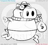 Bank Pig Coloring Cartoon Robbing Outlined Clipart Vector Thoman Cory sketch template