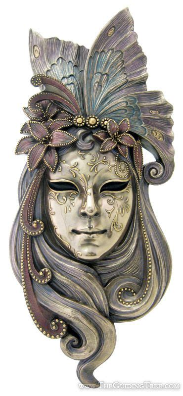 venetian mask wall plaque butterfly cold cast bronze