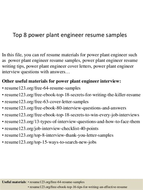 top 8 power plant engineer resume sles