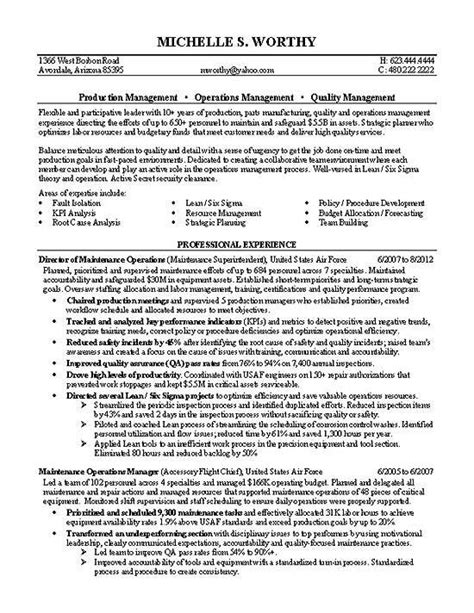 Production Manager Resume Exles by Quality Manager Employment Stuff Manager Resume