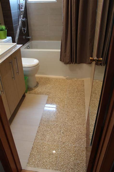 Italian Riverstone tile, high gloss epoxy over NuHeat